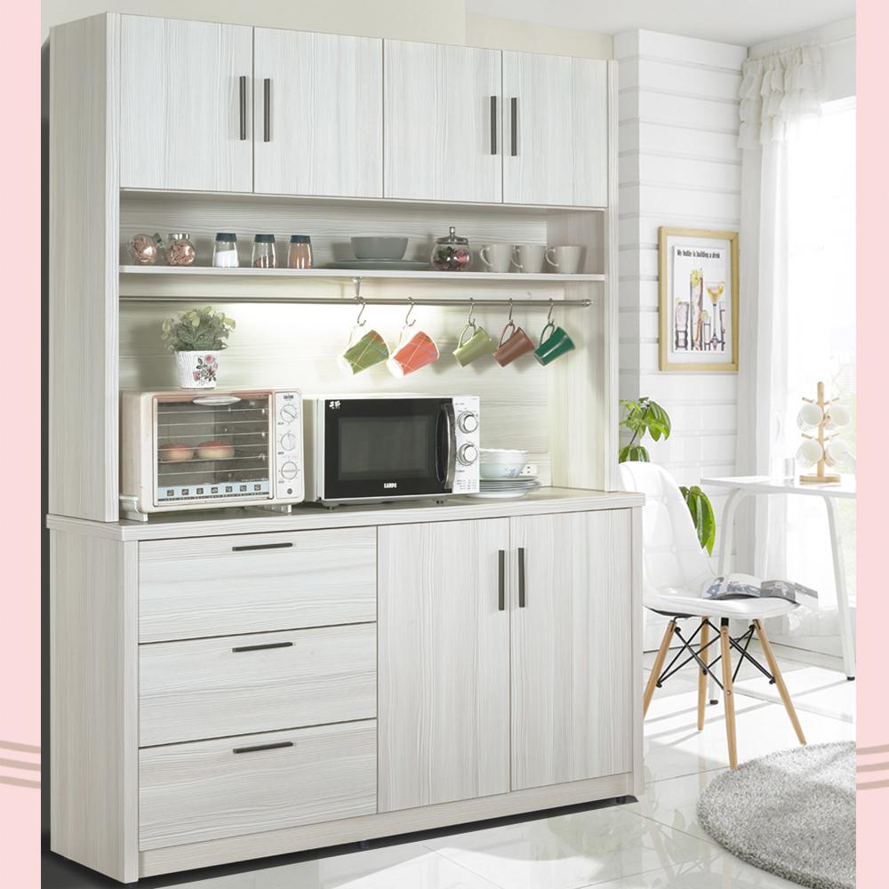 凱曼 米可5尺雪山白餐櫃收納櫃(上座+下座)