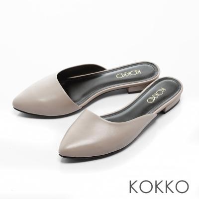 KOKKO-經典尖頭真皮平底穆勒拖鞋 -中性灰