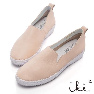 iki2新膚觸-手作感縫線真皮內增高平底鞋-嬌羞粉