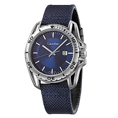 CK CALVIN KLEIN Earth 寰宇系列藍色面盤手錶-44mm
