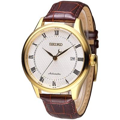 SEIKO 完美情人羅馬刻度自動機械錶-白x金框(SRP770K1)/42mm