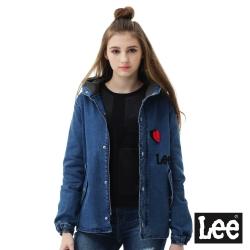 Lee 連帽牛仔外套-女款-中藍色