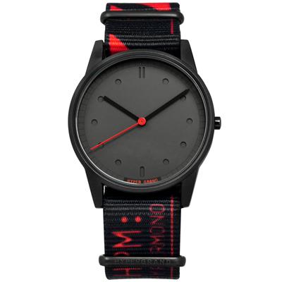 HyperGrand LO-FI 首創印花設計 極簡面板 尼龍手錶-灰x黑紅/38mm