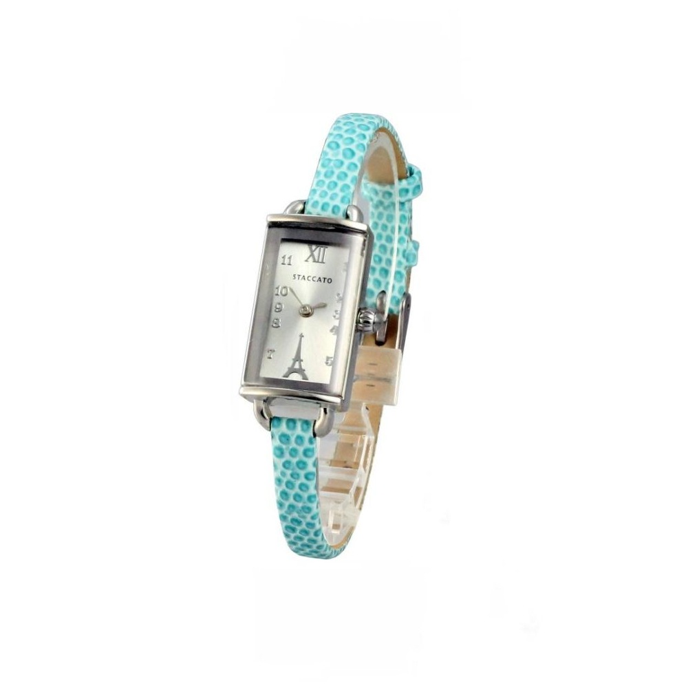STACCATO 法式典雅巴黎鐵塔時尚腕錶-銀x湖水藍錶帶/16mm