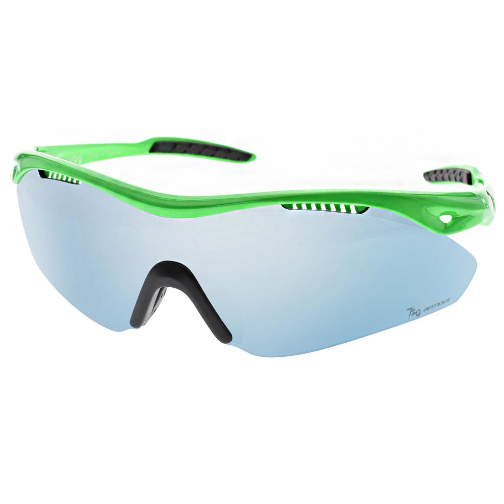 720運動太陽眼鏡 三鐵運動設計款/螢光綠-淺藍水銀#720B355 C06