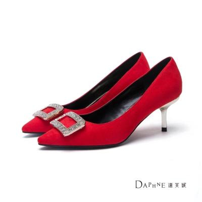 達芙妮DAPHNE 高跟鞋-方型鑽飾絨面尖頭鞋-紅