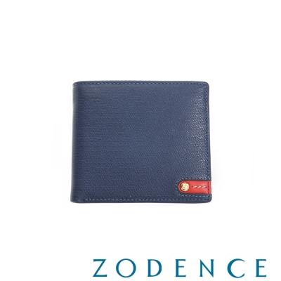 ZODENCE MAN 義大利牛皮系列紅底配色LOGO拉鍊零錢袋短夾 藍