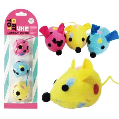 寵喵樂《逗貓玩具-可愛絨布老鼠》3入/一組(LWT-88140)