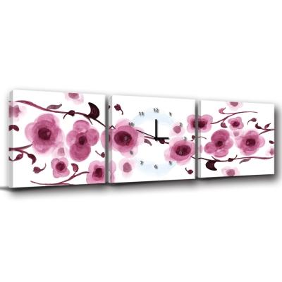美學365-三聯客製化掛飾壁鐘時鐘畫框無框畫藝術掛畫-花開花紅-50x50cm