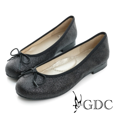 GDC-優雅閃料蝴蝶結圓頭平底娃娃鞋-黑色