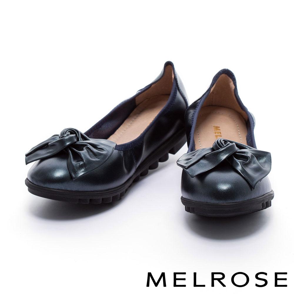 娃娃鞋 MELROSE 扭轉皮花蝴蝶結超軟Q全真皮娃娃鞋-藍