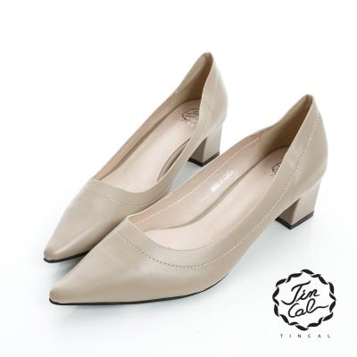 TINCAL-經典名伶-質感皮革簡約素面尖頭跟鞋-卡色