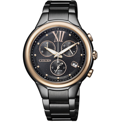 CITIZEN L 光動能星幻三眼計時腕錶(FB1316-56E)-IP黑/36mm
