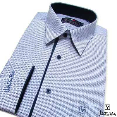 Valentino Rudy范倫鐵諾.路迪-長袖襯衫-白底藍點-暗釘釦