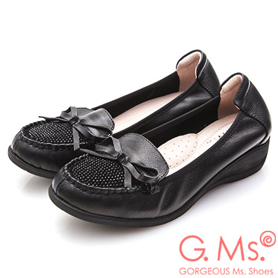 G.Ms. 牛皮燙鑽蝴蝶結坡跟鞋-黑色