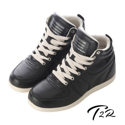 【韓國T2R】韓流金屬破裂紋氣墊內增高鞋8CM 黑