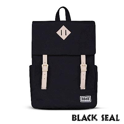 BLACK SEAL 聯名8848系列-撞色拼接雙皮帶釦Lash Tab後背包- 經典黑