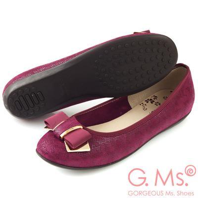 G.Ms. MIT系列-印花圖騰羊皮飾釦蝴蝶結豆豆娃娃鞋-紫紅