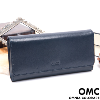 OMC - 原皮魅力系列多卡內扣三折式長夾-星辰藍