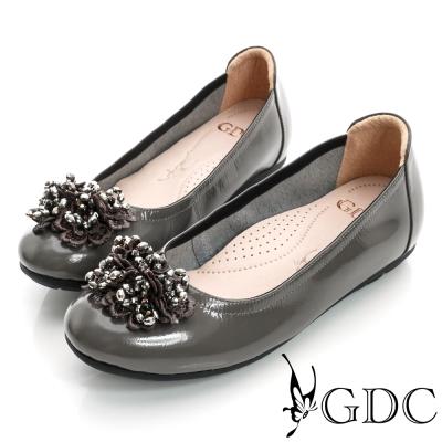 GDC舒適-柔軟漆皮真皮厚底娃娃鞋-槍灰色
