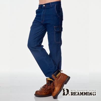 Dreamming美式伸縮多口袋直筒牛仔工作褲-藍色