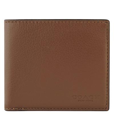COACH 咖啡色皮革壓紋雙摺十卡短夾