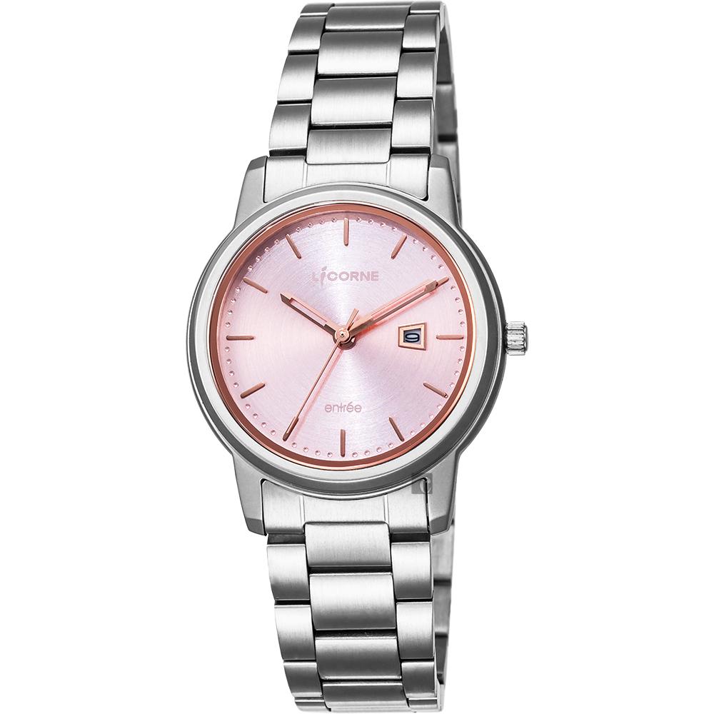 LICORNE力抗 entree 品味生活時尚手錶-粉x銀/32mm