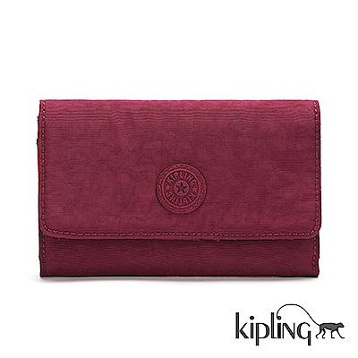 Kipling 長夾 莓紫素面-小