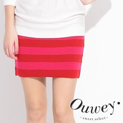 OUWEY歐薇-條紋配色針織短裙-共2色