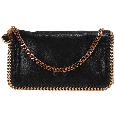 Stella McCartney Falabella 鏈帶斜背包(黑/金)