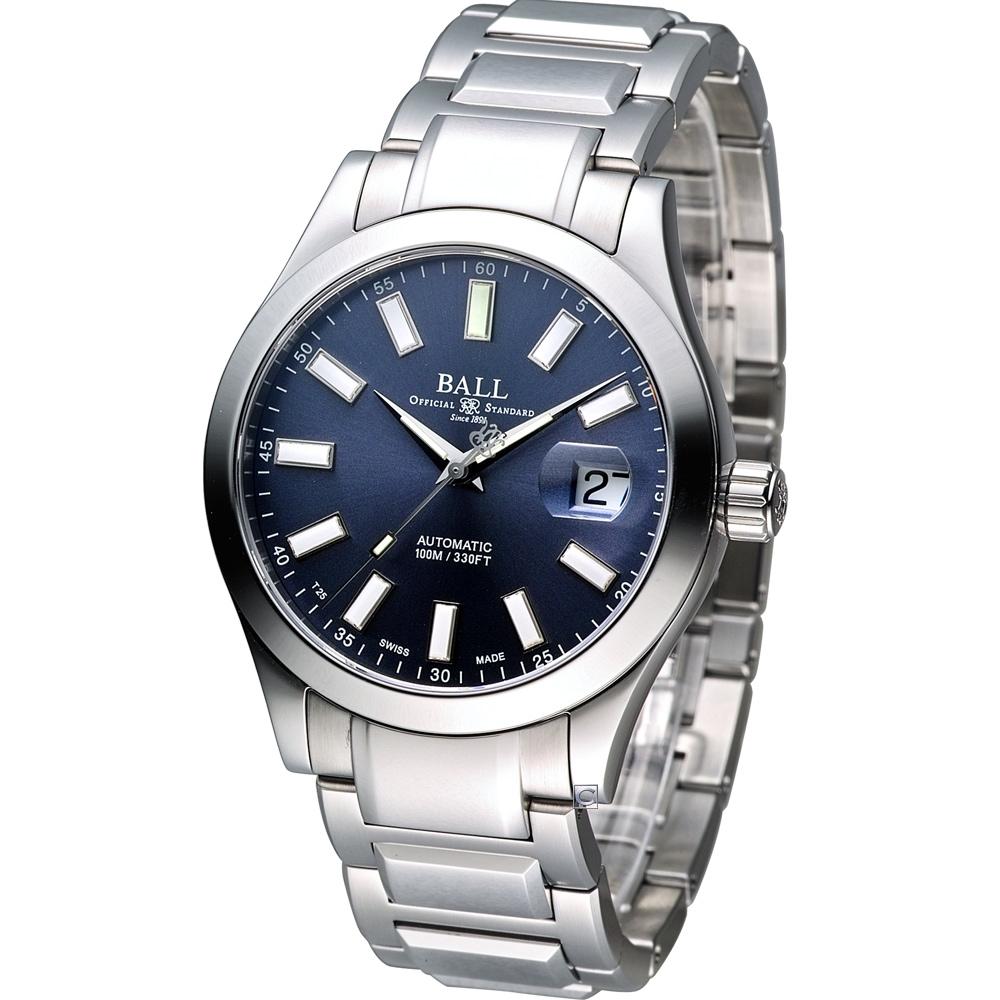 BALL 工程師 Marvelight 大三針機械腕錶-藍/40mm