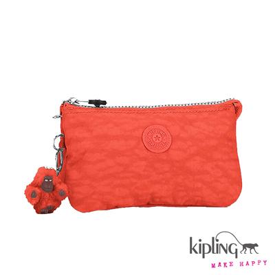 Kipling-手拿零錢包-珊瑚玫瑰粉橘素面