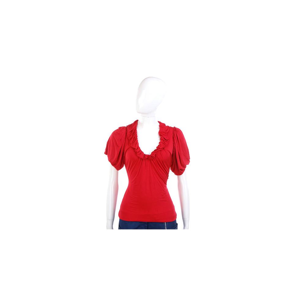 PAOLA FRANI 紅色抓摺設計短袖上衣
