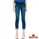 BRAPPERS 女款 BF Ballon系列- 女用彈性燈籠八分鑲鑽反摺褲-藍