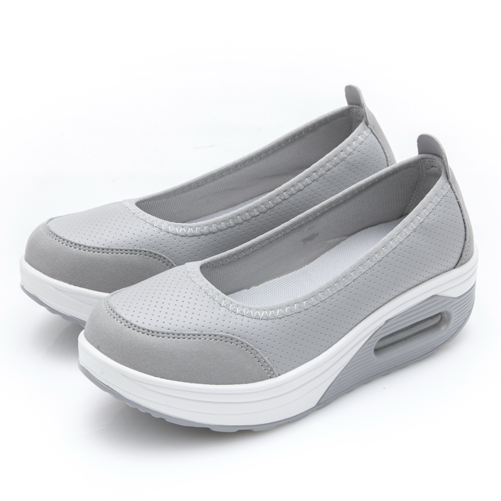 JMS-休閒舒適柔軟輕量厚底懶人鞋-個性灰
