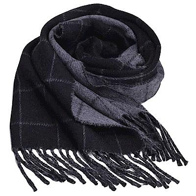 RALPH LAUREN POLO 義大利製小馬刺繡雙面配色格紋羊毛圍巾(黑/灰)