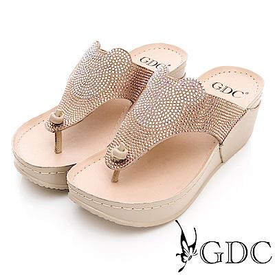 GDC-真皮水鑽趣味米奇厚底夾腳拖-卡其色