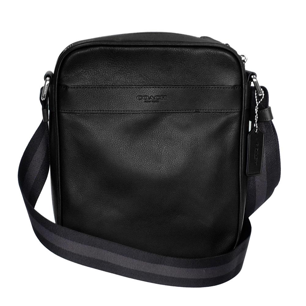 COACH黑色全皮內釦式夾層袋休閒斜背男包COACH