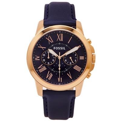 FOSSIL  羅馬優雅風計時的皮帶手錶(FS4835)-深藍色面/44mm
