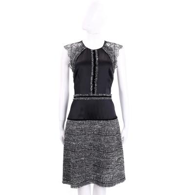 ALBERTA FERRETTI 黑x灰色蕾絲拼接無袖洋裝