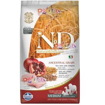 義大利法米納《ND挑嘴成犬天然低穀糧-雞肉石榴》潔牙顆粒  2 . 5 KG/包  2 包組