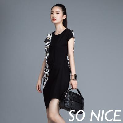 SO-NICE豹紋印花拼接洋裝