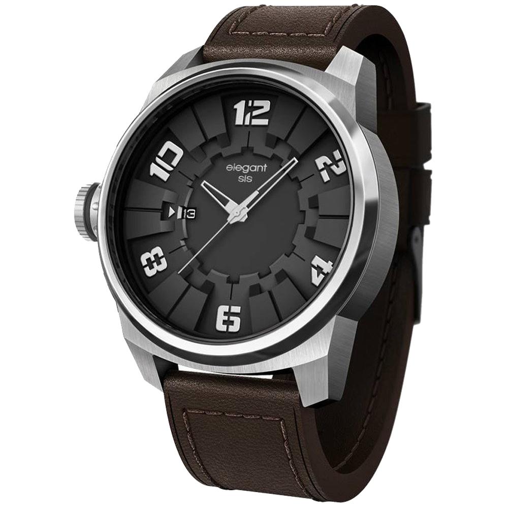 elegantsis Army JT48 都市實戰潮流腕錶-黑x咖啡/48mm