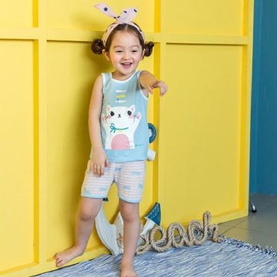 BEBEZOO 韓國 貓咪小魚水藍上衣短褲套裝2件組