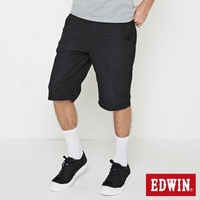 EDWIN 加大碼迦績褲JERSEY合身色褲短褲-男-黑色