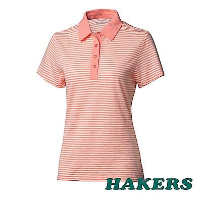 【HAKERS 哈克士】女- 抗UV條紋POLO衫-粉桔