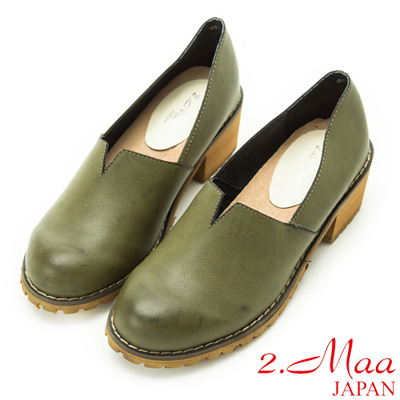 2-Maa-復古懷舊擦色V口粗跟鞋-綠