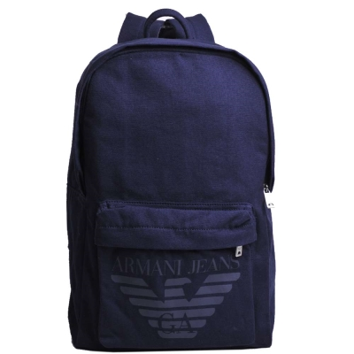 ARMANI JEANS 品牌大鷹圖騰LOGO 復古棉質後背包(深藍)
