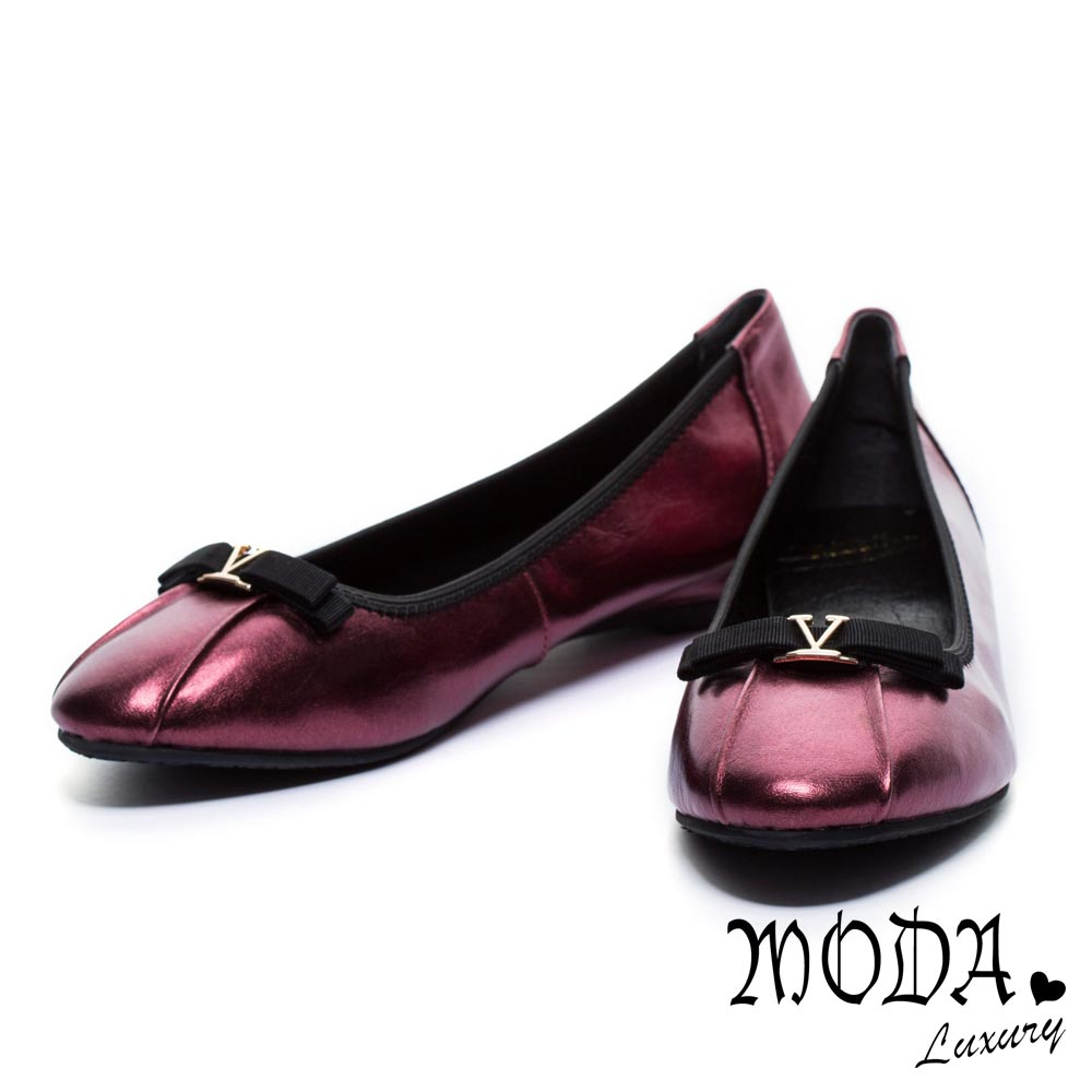 娃娃鞋MODA Luxury 金屬V形字母裝飾蝴蝶結牛皮娃娃鞋-紅