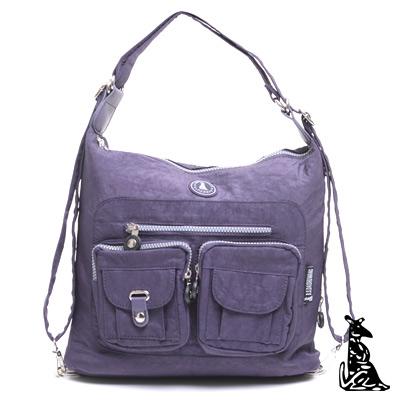 冰山袋鼠-休閒系多功能輕盈防水3用後背包-深紫